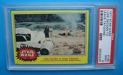 Topps 1977 **STAR WARS - Yellow** PSA 9 Key LAST Card #198 SKYWALKER C3PO KENOBI