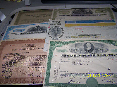 * 1960's, Other Old Collectible Stock Certificate Lot, American Telephone...