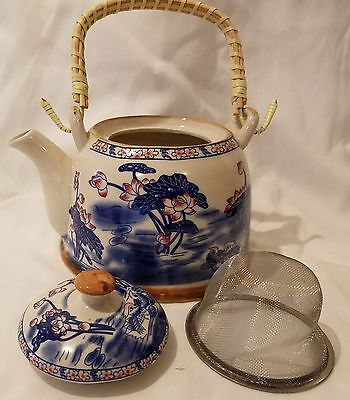 Chinese/Japanese Pewter Porcelain Teapot with Bamboo Handle and Strainer