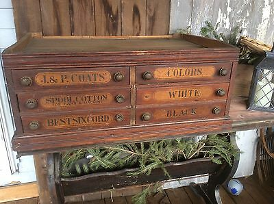 Antique J. & P. Coats Spool Cabinet, Wood , 6 Drawer , Best Six Cords, 34x14x22