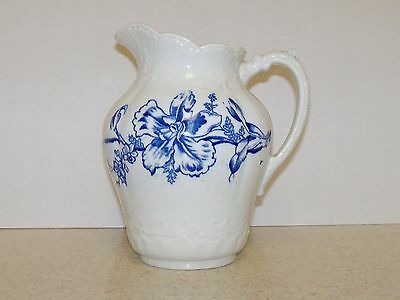 antique blue and white ironstone pitcher  7 1/2 inches tall