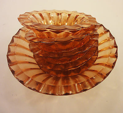 Art Deco Bohemian  Amber Glass Centerpiece Platter 5 Plates Dish Set