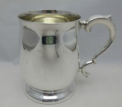 Vintage Solid Silver One Pint Baluster Shaped Tankard 359g Viners (594-9-OVE)