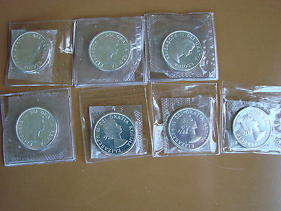 Group of 7 Canada 50 cent 1964 Proof-Like Uncirculated coins.
