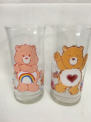 VINTAGE SET OF 2 CARE BEAR GLASSES Cheer And Tender 1983 PIZZA HUT