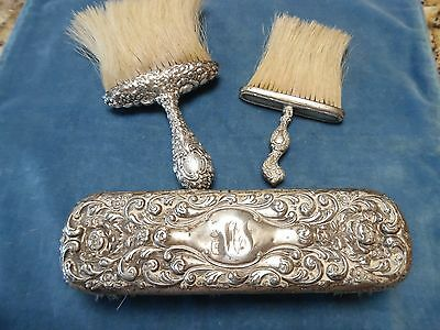 THREE  STERLING SILVER antique  brushes  repousse