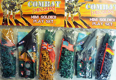 Combat Mission Mini Army Toy Soldier Play Set (Soldiers, Tank, Plane, Missiles)