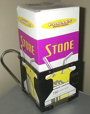 VINTAGE STONE SODA POP STRAW DISPENSER SIGN Country General Store DISPLAY SIGN