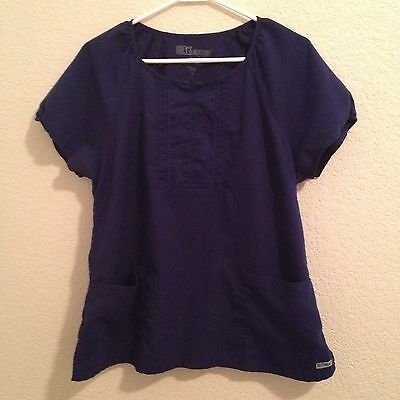 Grey's Anatomy by Barco Scrub Top Size L Large Women's Short Sleeve Pockets Blue