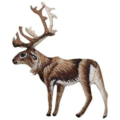 Majestic Elk Caribou on Grass Embroidered Iron On Patch Applique 2.88 Inch