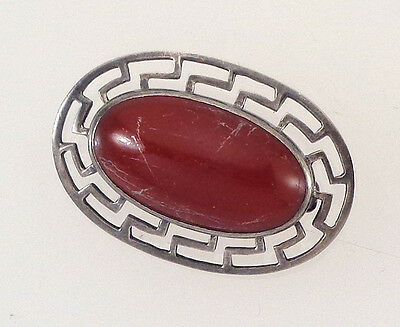 Dainty Vintage Antique Art Deco Sterling Silver Pin with Carnelian Stone Center