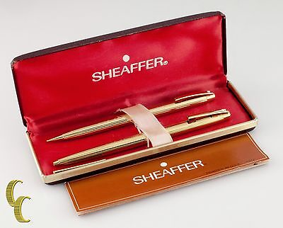 Sheaffer Electroplated Gold Pen & Pencil Set W/Box and Papers