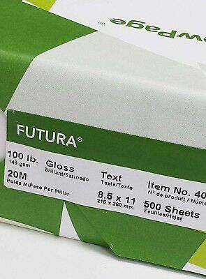 """8 1/2"""" x 11"""" 100 lb Text Glossy Coated 2 Sides Paper. 500 Sheets"""