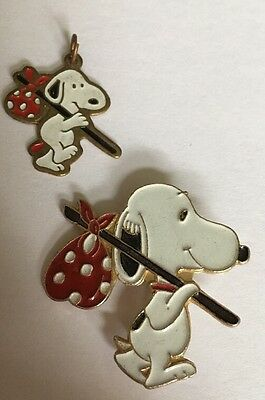 Peanuts Gang Collectible Snoopy Enamel Pin & Charm Set Jewelry X-66