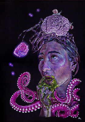 """""""Nia Day Dream"""" Original Drawing by Dale Keogh prismacolor surreal"""