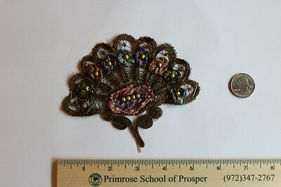 French Antique Silk and Gold Metallic Victorian Ribbonwork
