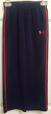 UNDER AMOUR Boys UA Athletic Pants, Size 5Y, Navy With Red.