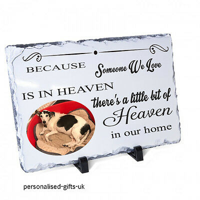 Pet dog cat memorial personalised slate plaque   with photo + poem