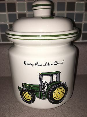 """2002 Gibson John Deere """"Tractor"""" Ceramic Canister w/ Lid 9"""" Licensed Product"""
