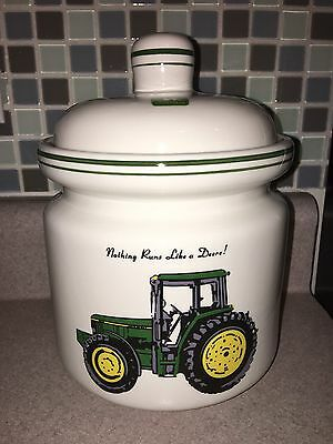 """2002 Gibson John Deere """"Tractor"""" Ceramic Canister w/ Lid 7"""" Licensed Product"""