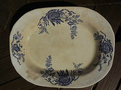 Vintage Large Blue and White Platter 18 by 14 inches.