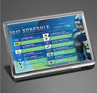 SEATTLE SEAHAWKS 2017 SCHEDULE Wilson Sherman NFL JUMBO SIZE Fridge Magnet