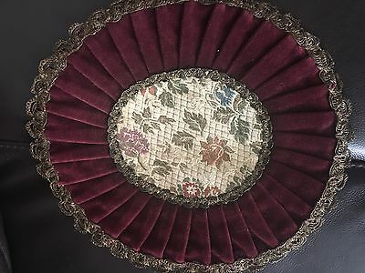 "Antique VICTORIAN VELVET  Roud Table Doily Gold, Velve Red  91/2"" x 91/2"