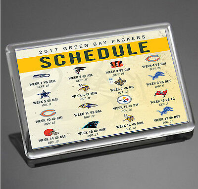 Green Bay Packers 2017 Schedule Lambeau Field NFL JUMBO SIZE Fridge Magnet