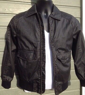 Lucky Brand Boys Flight Jacket Size Small Black Faux Leather Full Zip Youth