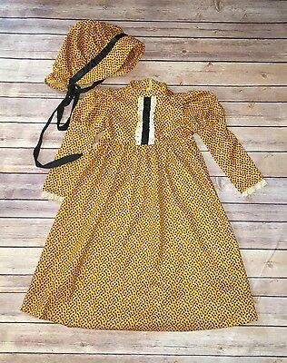Vintage Handmade Girls Sz 5T Yellow Floral Prairie Dress & Matching Bonnet