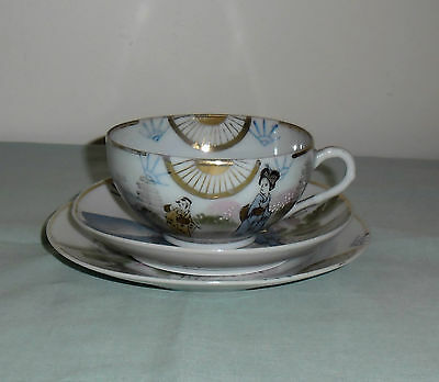 Antique Meiji Taisho Period Signed Tea Cup Saucer & Plate :  Geisha Rural Scene