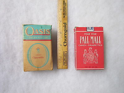 2 Vintage Candy Cigarettes Boxes Four Star Pall Mall & Smiley Flip Top Oasis HTF
