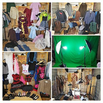 Vintage Old Time Western Photography Studio Costumes, Props & Lighting Set