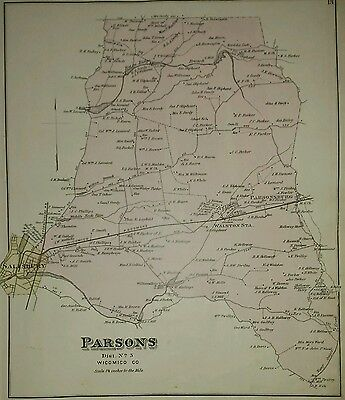 Antique 1877 Map Parsons and Dennis Wicomico Co. Maryland