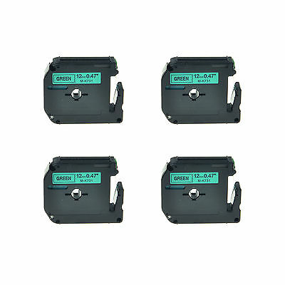 4PK 12mm Black on Green MK731 M-K731 M731 Lable Tape For Brother P-touch 70BMH