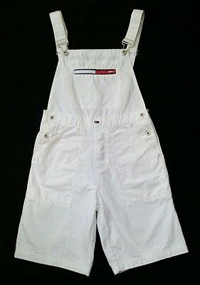 Vtg 90s Tommy Girl Hilfiger Shorts Overalls M/L White Denim