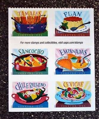 2017USA Forever Delicioso - Block of 6 From Booklet - Mint  mexican food