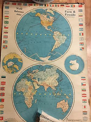 Vintage Lot Of 2 School Pull Down World Atlas And World Map