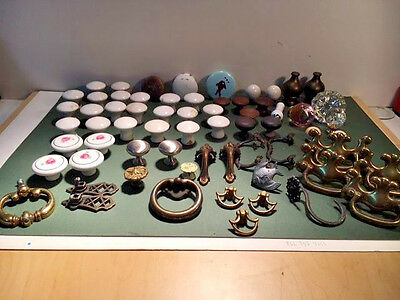 Lot Of 64 Antique And Vintage Pulls, Handles, Knobs, Finials, Etc.