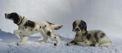 TWO Vintage JAPAN Art Pottery ENGLISH SETTER DOG Figurine One w/Chain~Tag