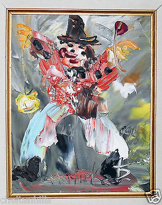 Signed Clown Morris Katz Signed Oil Painting