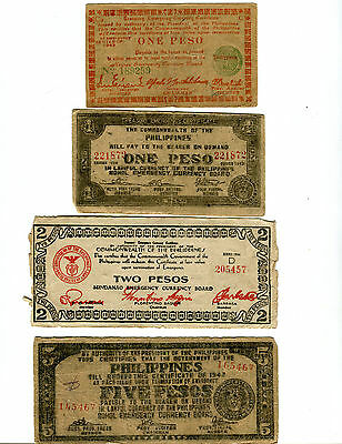 4 Different Philippine WW 2 Emergency Banknotes #5