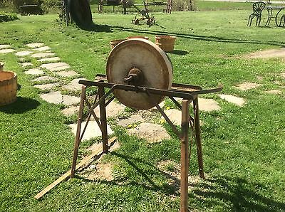 Antique Grinding Wheel On Industrial Metal Frame, Primitive, Country Farm ,