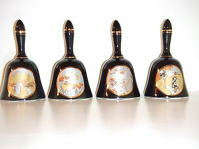 Vintage Black Cloissone Porcelin Bell Set