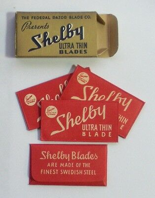 Vintage Razor Blades SHELBY ULTRA THIN Full Pack of 4