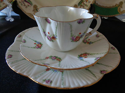 Foley China (pre.Shelley) Handpainted Trio - Floral Swagged Ropes/ Dainty Shape