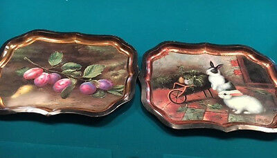 Beautiful French Cottage Chic Bunnies & Plum Cluster Metal Serving Trays