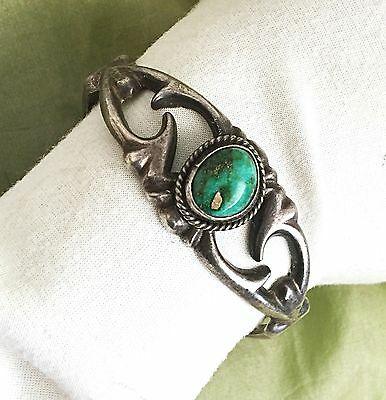 Vintage Solid Navajo Old Pawn Sterling Silver Sandcast Turquoise Cuff Bracelet