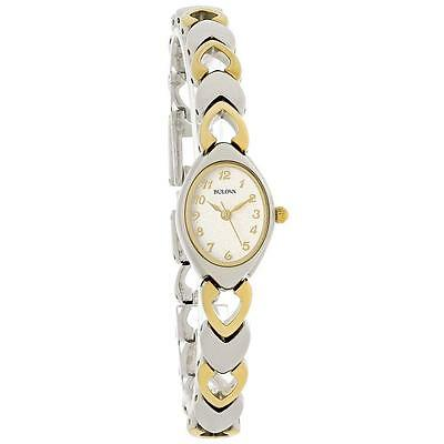 Brand New Bulova White Dial Two Tone Heart Bracelet Ladies Quartz Watch 98V02