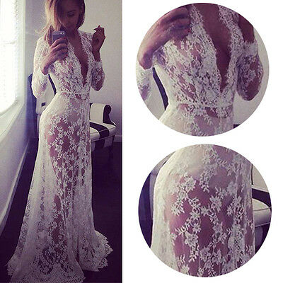 Women Lace Long Maxi Cocktail Party Dress Formal Gown Wedding Bridesmaid Dresses